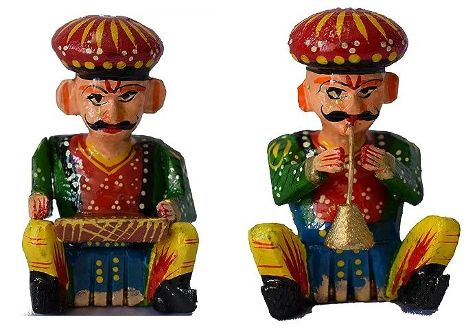 Handmadeo artize rajasthan India Souvenir Wooden Magnet � Musician ,perfect souvenir for gifting set of 2