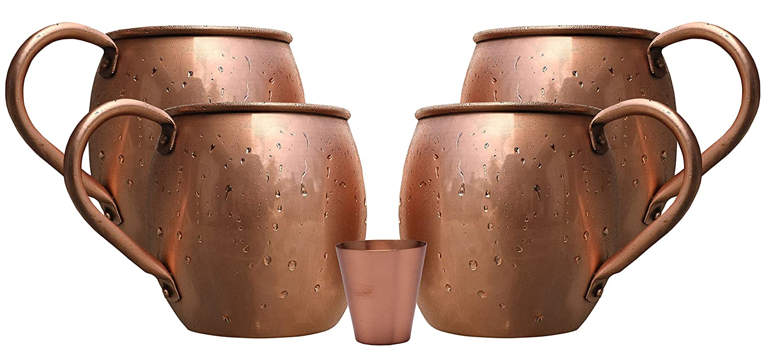 Heavy Gauge No Lining Melange 16 Oz Copper Barrel Mug for Moscow Mules Set of 2 with One Shot Glass Includes Free Recipe Card