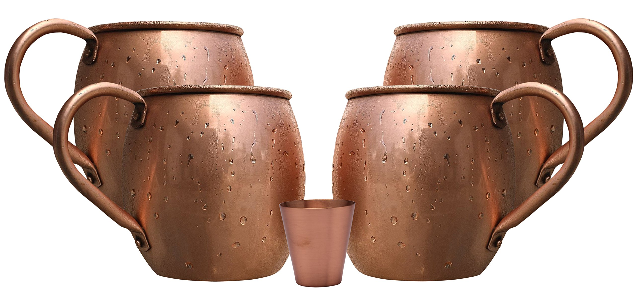 Melange 20 Oz Copper Barrel Mug for Moscow Mules, Set of 4 with One Shot Glass - Heavy Gauge - No Lining - Includes Free Recipe Card