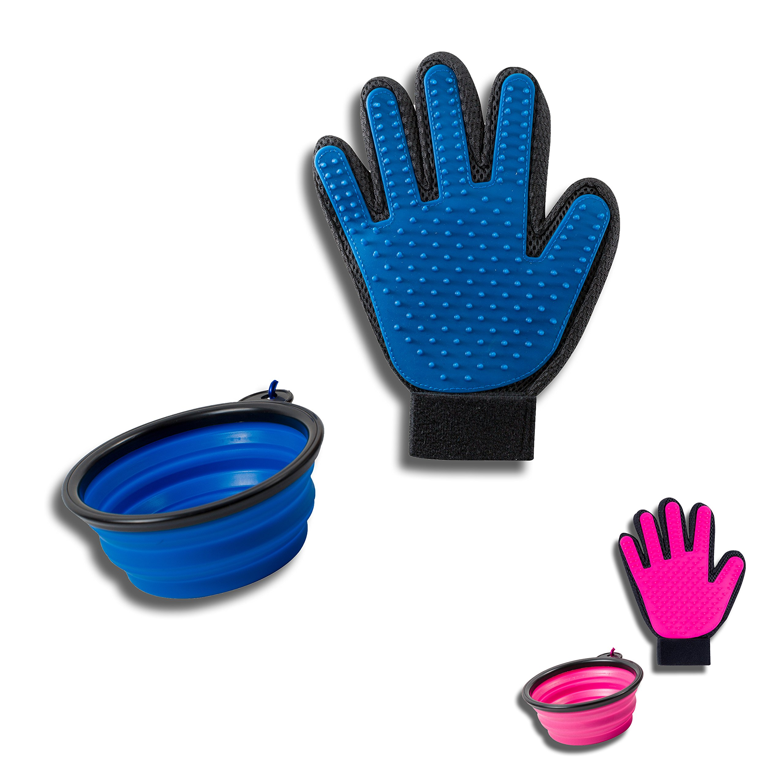 Soft Touch Pet Deshedding and Grooming Glove and Collapsible Travel Bowl for Food or Water, Gift Set