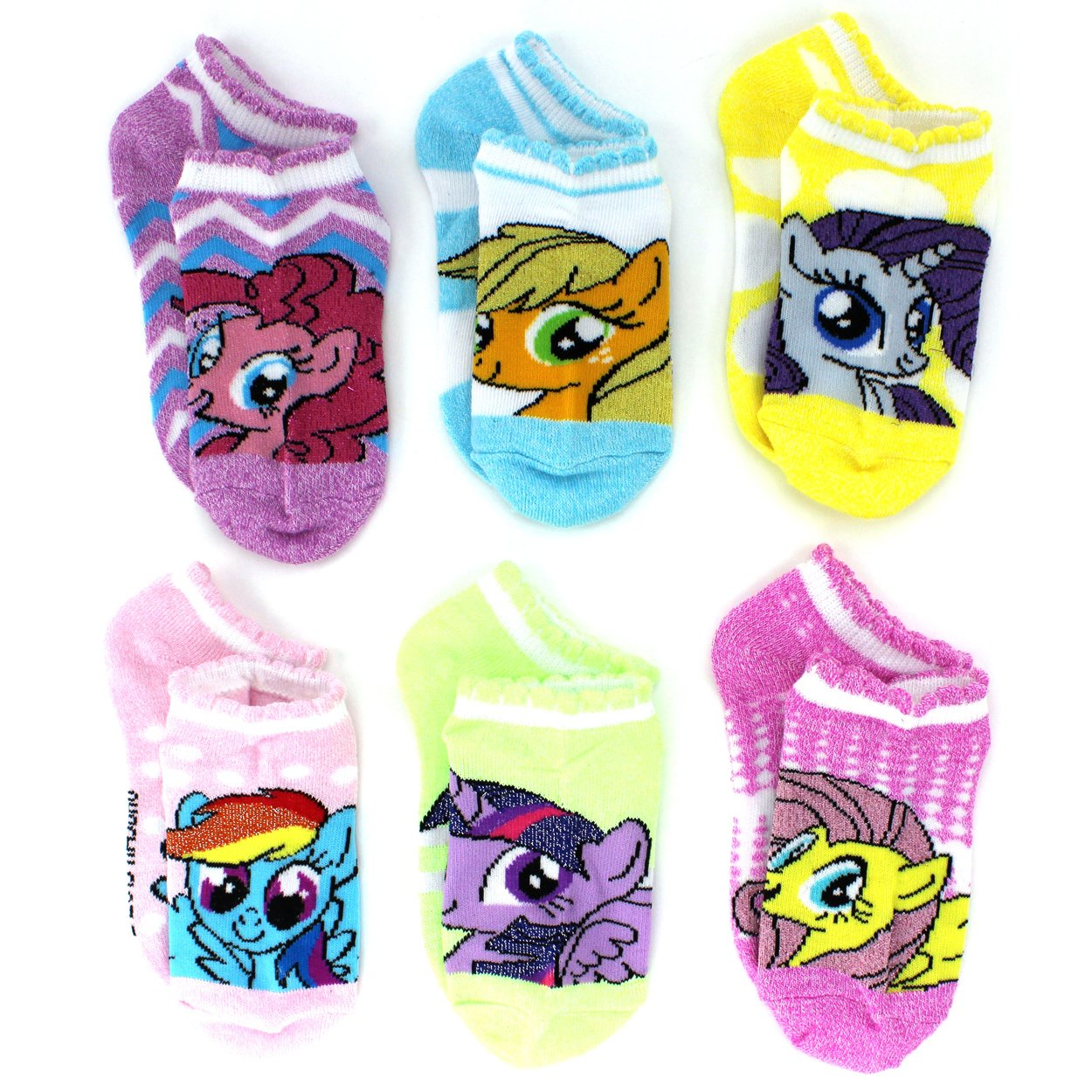 My Little Pony Girls 6 pack No Show Socks (Toddler/Little Kid/Big Kid) MLP Lurex) manufacturer