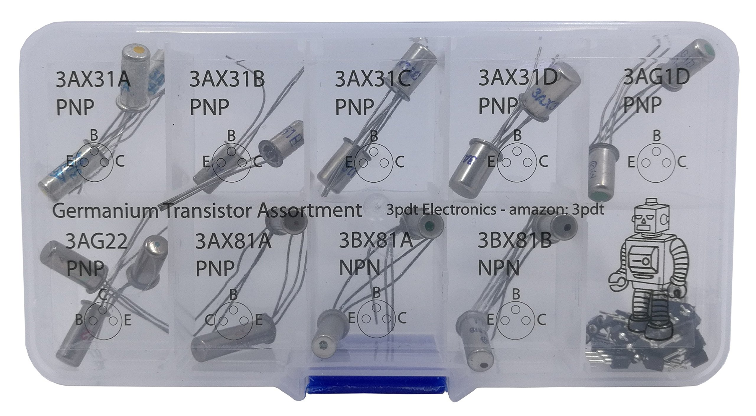 Germanium Transistor Assortment 20 pcs NPN PNP hfe fuzz gain incl 20 Transistor Socket by 3pdt (Image #1)