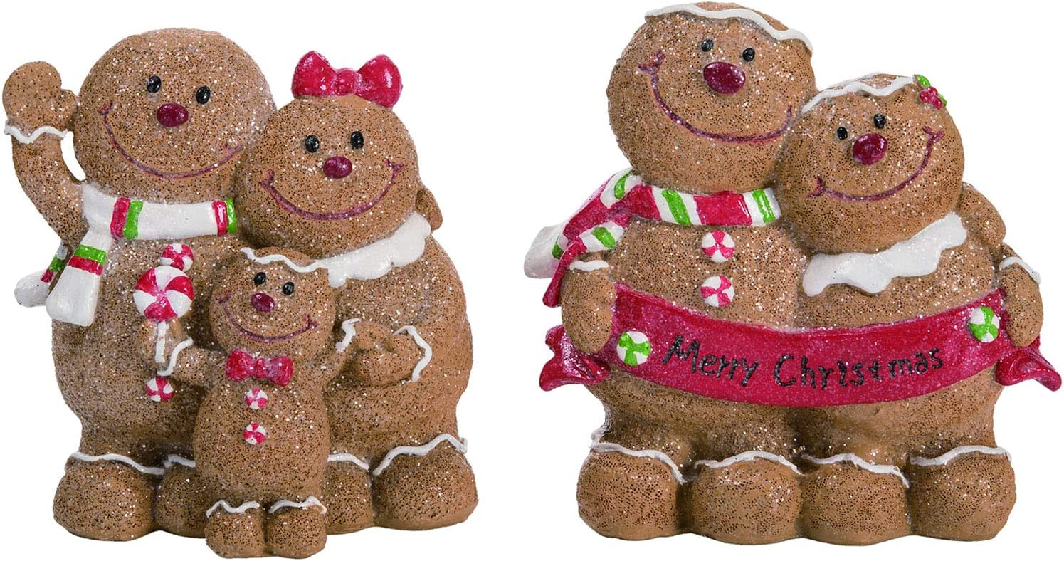 "Transpac 5"" Gingerbread Man Family Decor - Mom, Dad, Kids - Merry Christmas Holiday Decoration Figures - Set of 2"