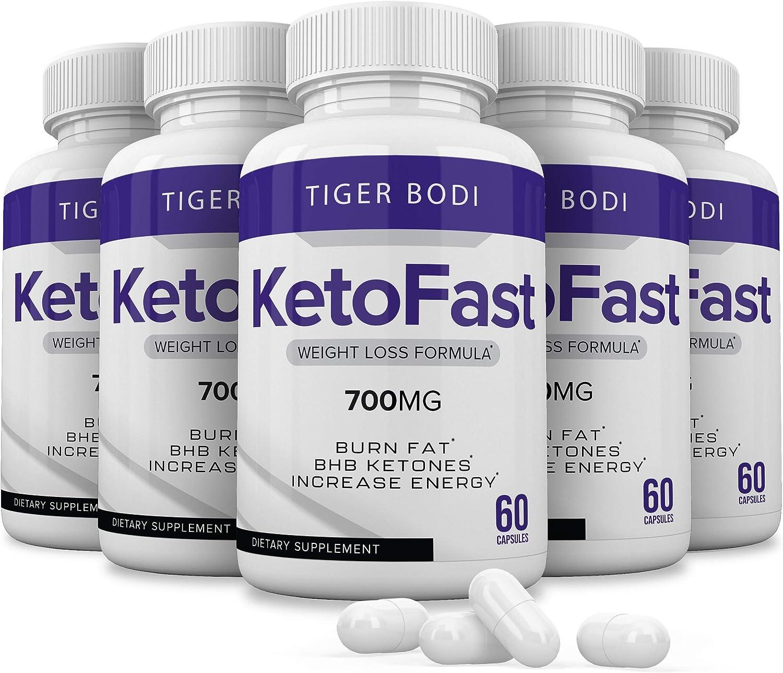 (5 Pack) Keto Fast Diet Pills, Keto Fast 700 mg Burn Capsules, Pure Keto Fast Supplement Burning for Energy - BHB Ultra Boost Exogenous Ketones for Rapid Ketosis for Men Women