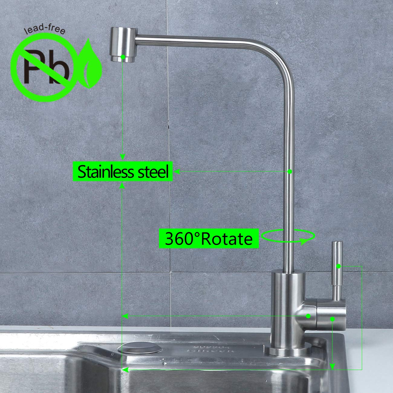 Stainless Steel Kitchen bar Sink Drinking Water filter Faucet, Fits all reverse osmosis water filtration system, Lead-Free, Brushed, Single Handle by MINGOR (Image #3)