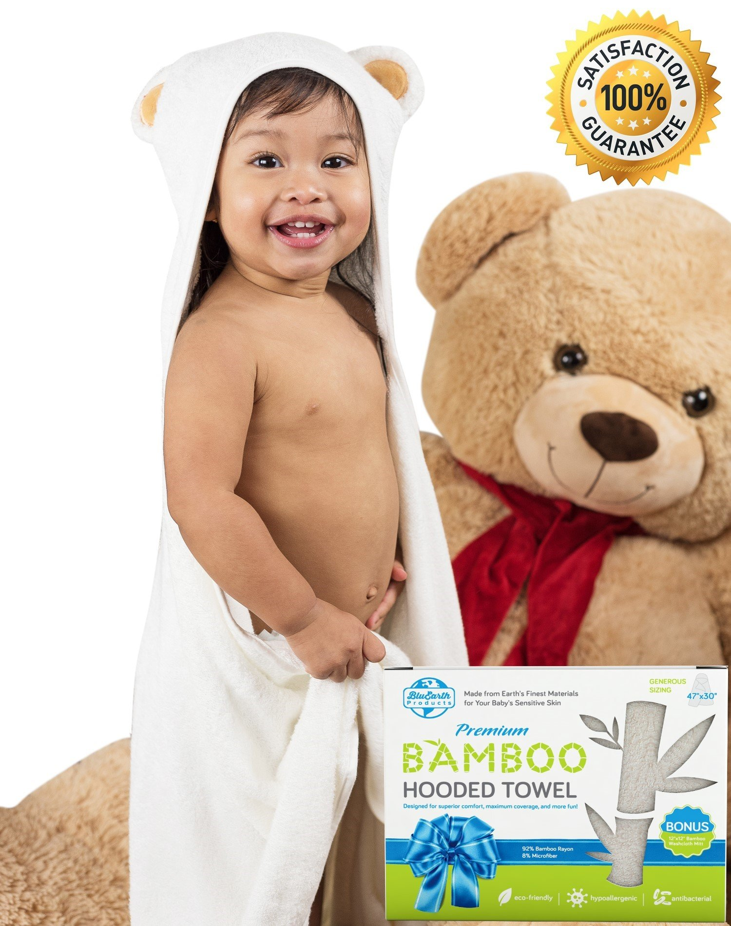 BluEarth Products Animal Baby Hooded Towel for Girls and Boys | Little Bear | Bamboo Hooded Baby Towel and Baby Washcloth | Baby Travel Bathing Kit | Baby Gifts for Newborn, Infant, Toddler, Big Kids