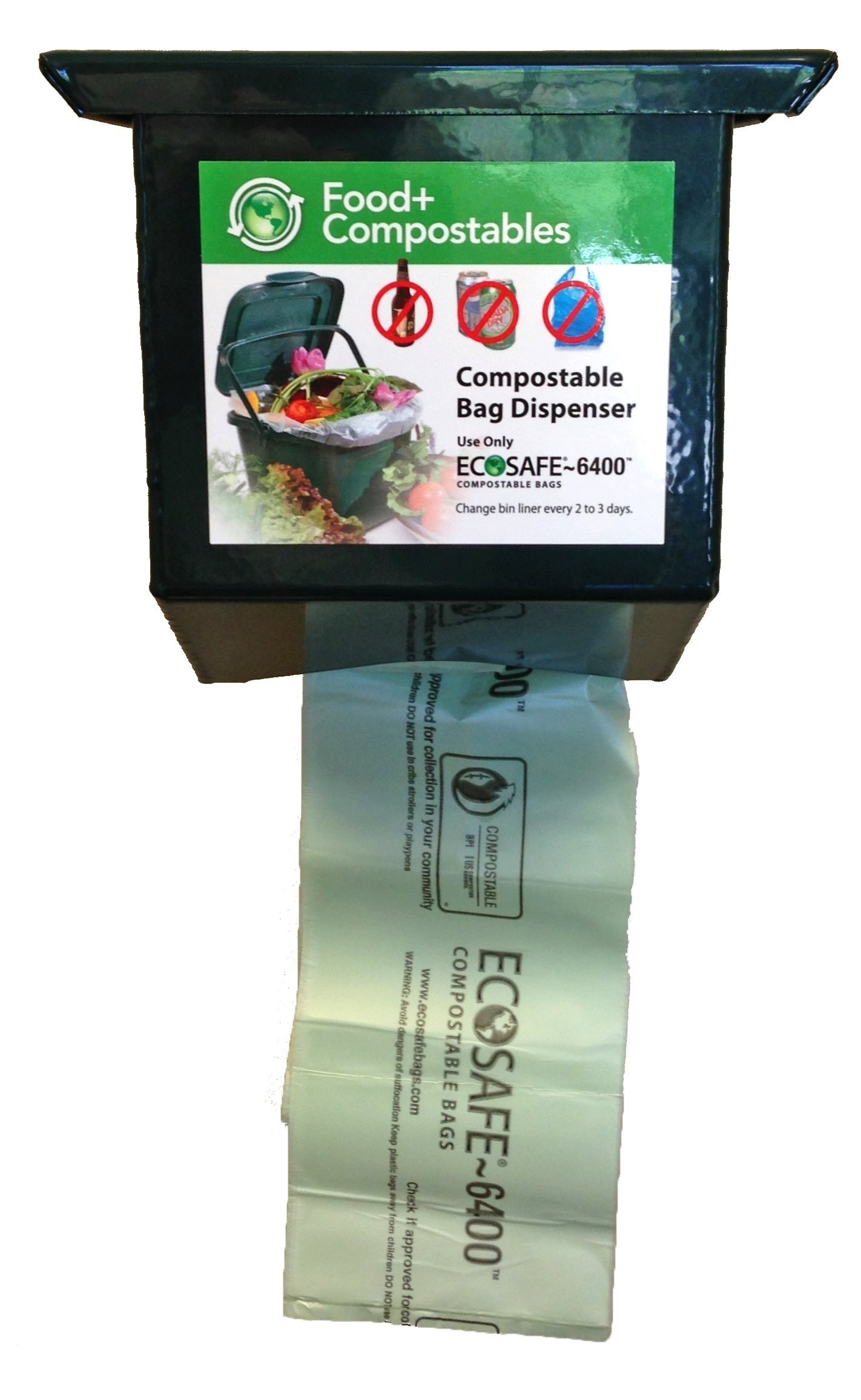 EcoSafe EcoSafe-MultiRes Compostable Bag Dispenser, Powder Coated Aluminium, Holds 325 Bags, Green