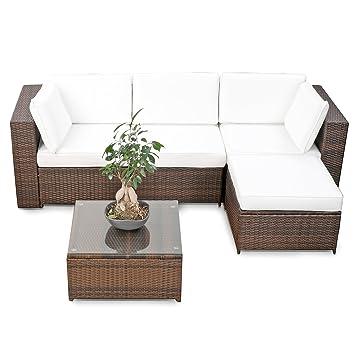 Balkonmöbel lounge-sofa  Amazon.de: erweiterbares 15tlg. Balkon Polyrattan Lounge Ecke ...