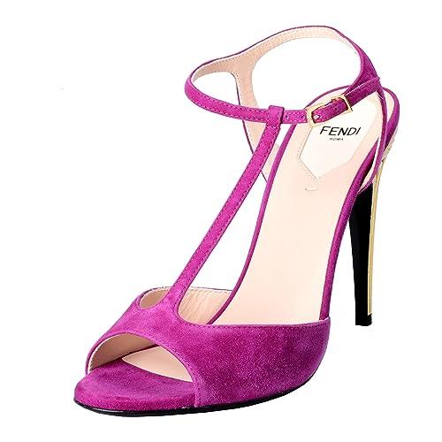 8aa012db0cb Fendi Women s Suede Fuchsia Open Toe T-Strap High Heels Sandals Shoes US 7  IT 38   Amazon.ca  Shoes   Handbags