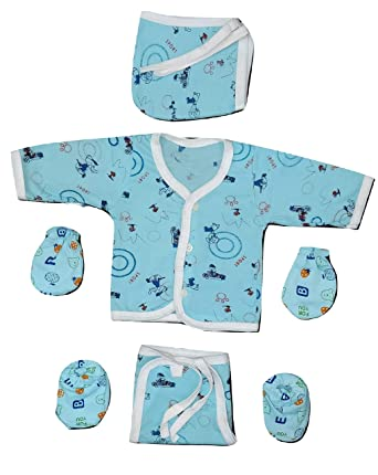 Lucky Star New Born Baby Cotton Hosiery Baby Suit with Front Open Shirt 4  Nappy 4 Booties 4 Mittens and 4 Cap (Multicolour, 0-3 Months) -Combo of 4