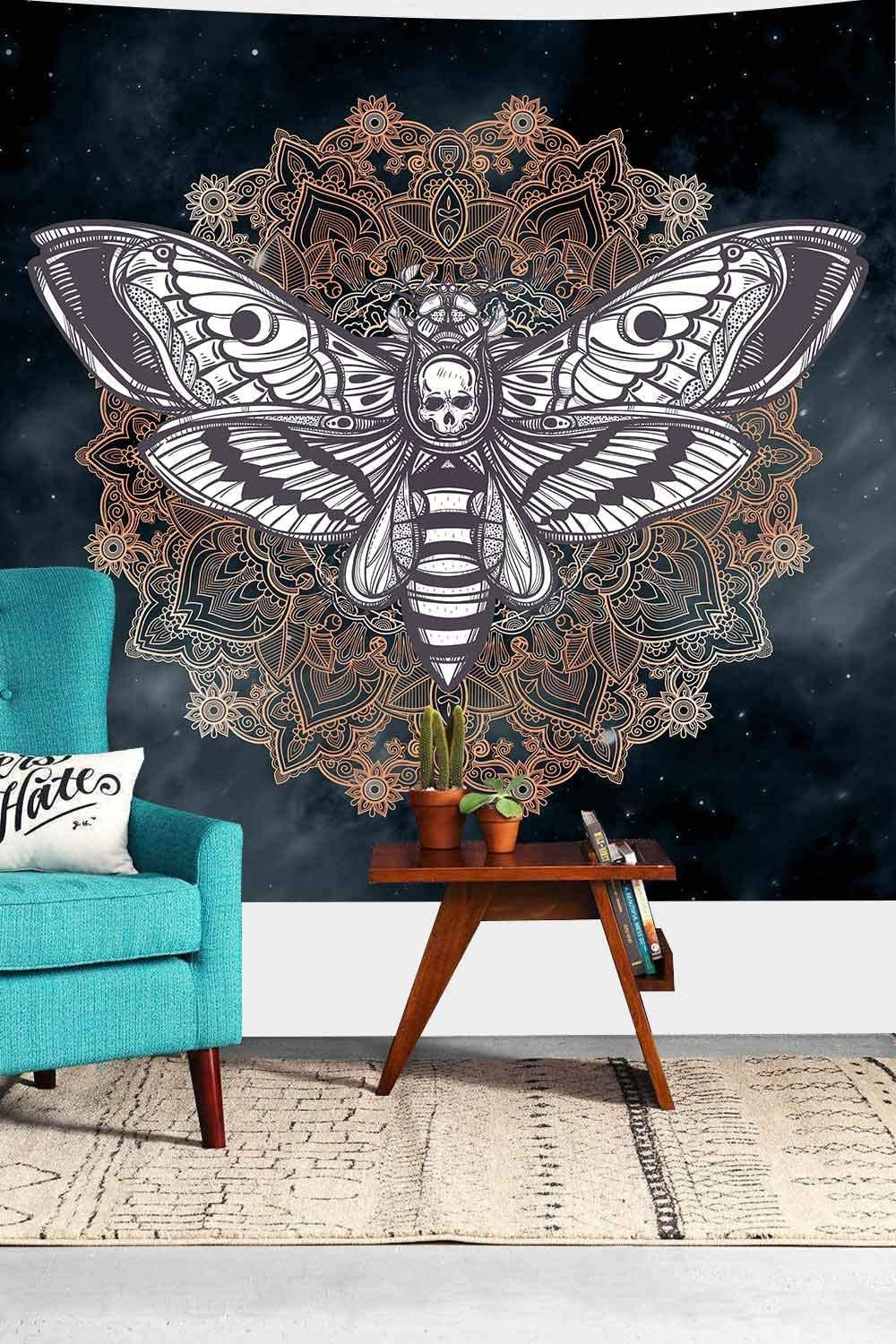 Death Head Hawk Moth Wall Hanging Tapestry Cool Skull Mandala Vintage Mysterious Home Decoration Wall Art Tapestries for Bedroom Living Room