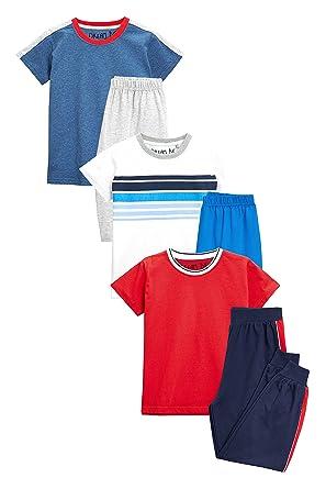 52804c60d8ec3 Next Garçon Lot de Trois Pyjamas Style Sport Coupes Longue Et Courte (9 Mois  À