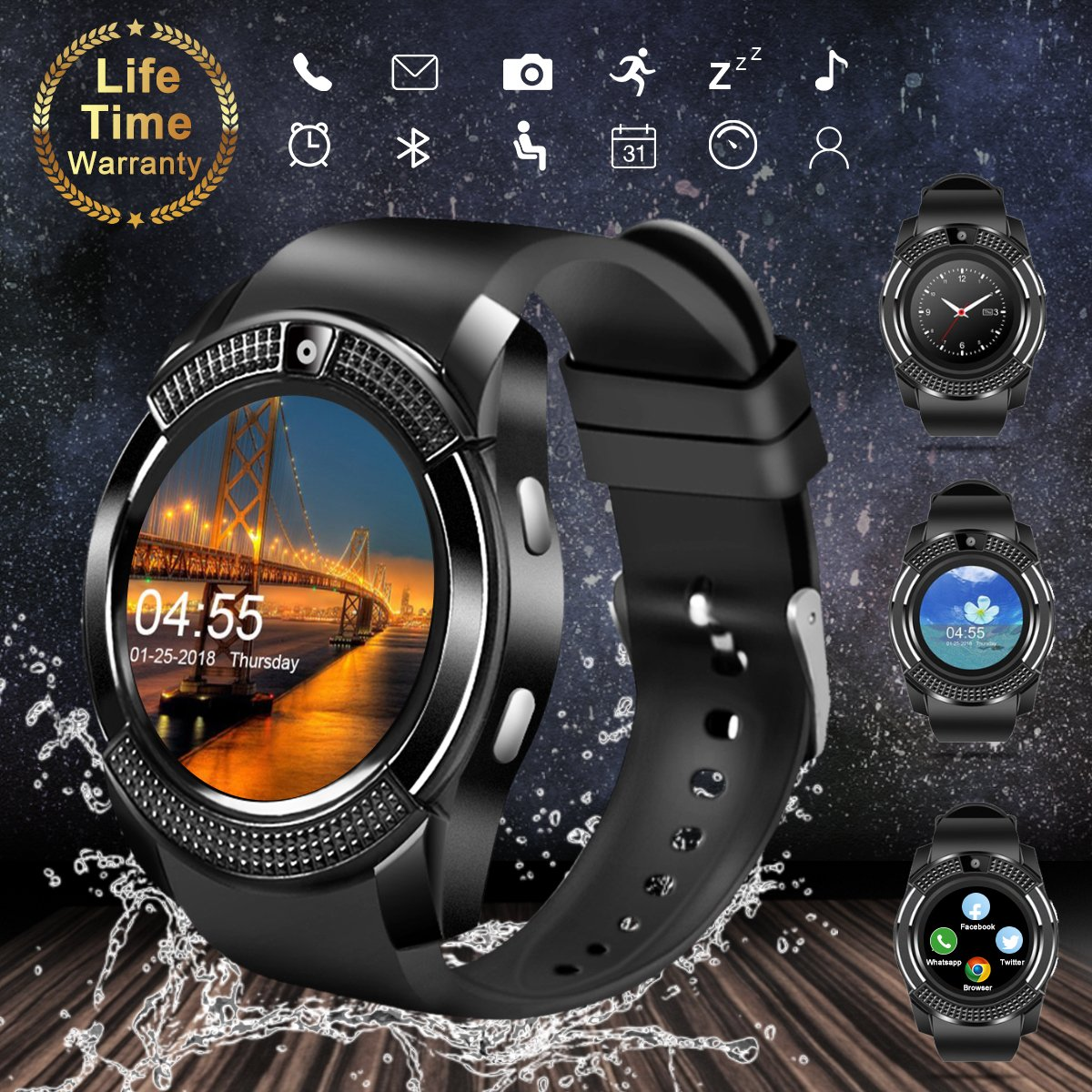 Bluetooth Smart Watch with Camera, Touchscreen Smart Wrist Watch with Sim Card Slot, Camera Controller Bluetooth Watch Unlocked Waterproof Smart Watch Phone for iPhone Android Samsung Men Women by Topffy