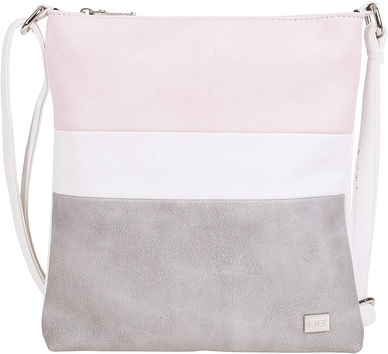 M2 Grau//Rose BERNARDO BOSSI Damen Clutch Abendtasche Tasche Handtasche Schultertasche Frauen Umh/ängetasche