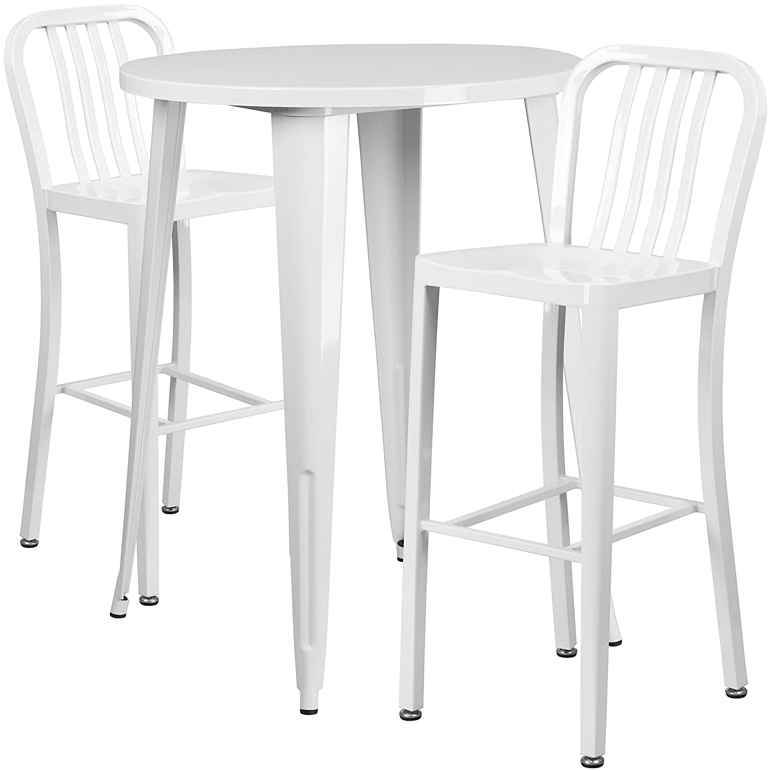Amazon com flash furniture 30 round white metal indoor outdoor bar table set with 2 vertical slat back stools kitchen dining