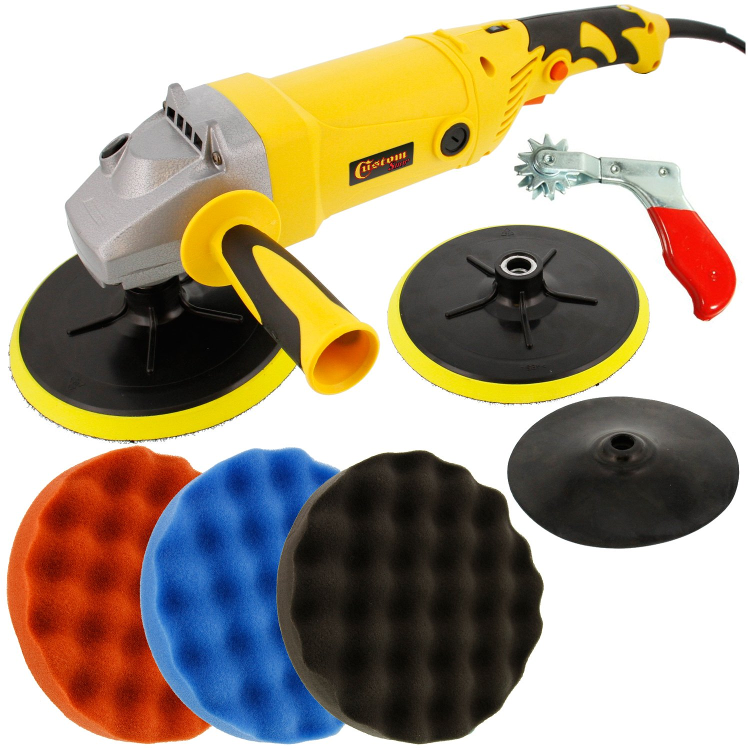 Custom Shop Heavy Duty Variable Speed Polisher with a Professional 3 Waffle Pad Buffing and Polishing Kit