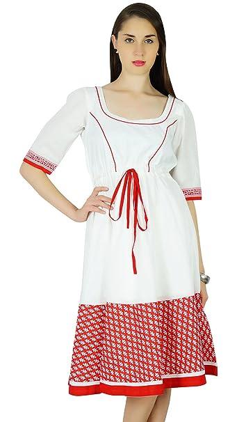 Phagun Verano Imprimir sólido Vestido de algodón Blanco Ocasional de Las Mujeres Vestido de Tirantes - Elija el tamaño: Amazon.es: Ropa y accesorios