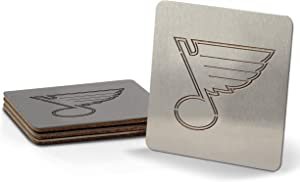 YouTheFan NHL Boasters (Drink Coasters): 4-Piece Stainless Steel Laser-Cut Team Coaster Set