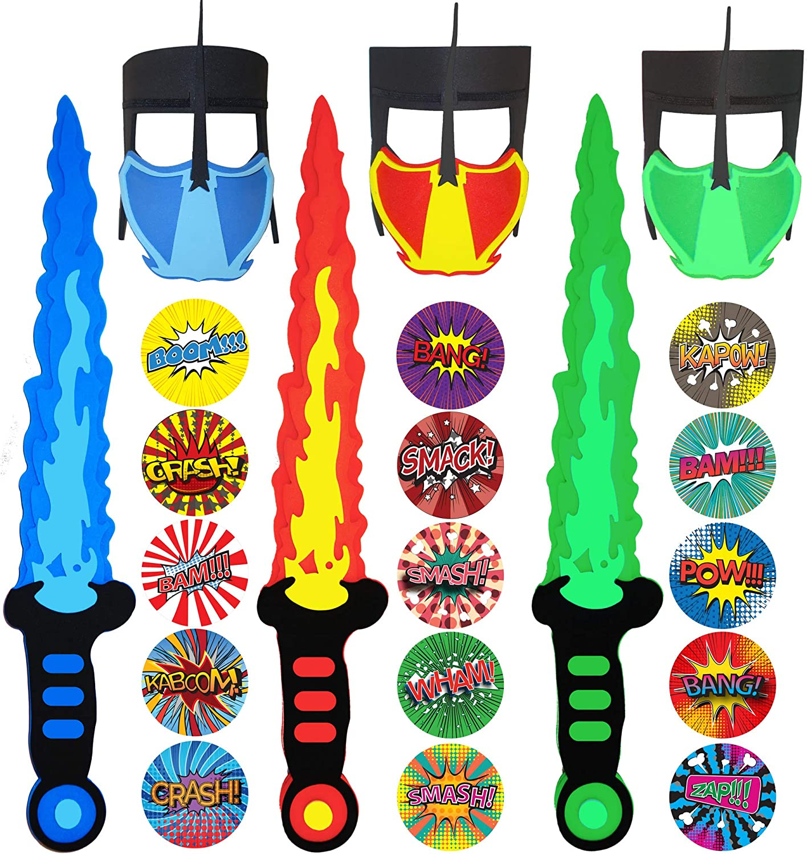 Funtoga 12 / 24 Foam Toy Swords + Masks for Kids Ninja Pirate Weapon Party Bulk Set + Superhero Stickers (3 Swords + 3 Masks (Red, Blue, Green))