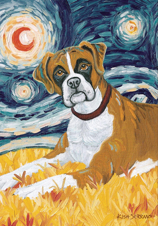 Toland Home Garden Van Growl Boxer 12.5 x 18 Inch Decorative Puppy Dog Portrait Starry Night Garden Flag
