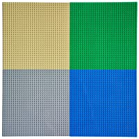 """EKIND Pack of 4 Classic Building Baseplate 10"""" x 10"""" Compatible with Lego Brickyard Building Blocks, Perfect for Activity Table or Displaying Compatible Construction Toys (Blue+Green+Gray+Sand)"""