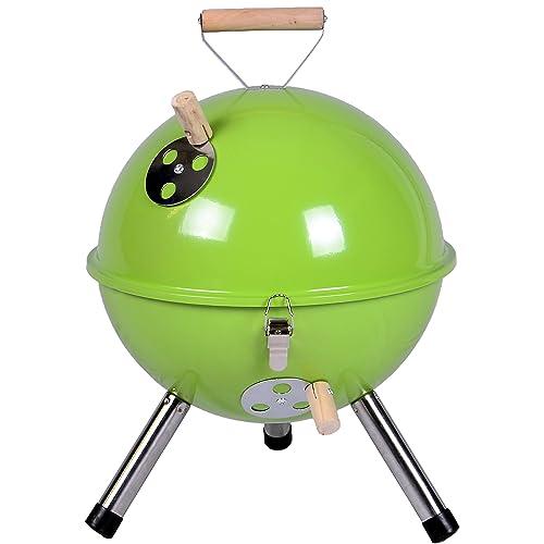 Nexos YG00263_G Mini Grill Kugelgrill Holzkohlegrill für Garten Terrasse Camping Festival Picknick BBQ Barbecue - 30 cm grün