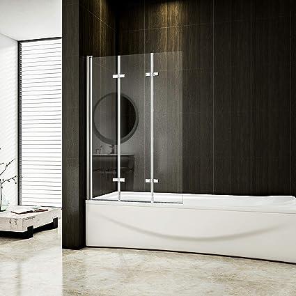 Mampara plegable de 130 x 140 cm para bañera, 3 piezas, 6 mm ...