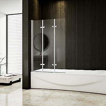 Mampara plegable de 130 x 140 cm para bañera, 3 piezas, 6 mm Cristal Nano: Amazon.es: Bricolaje y herramientas
