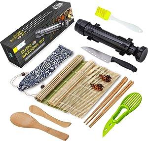 Sushi Making Kit, All In One Sushi Bazooka Maker with Bamboo Mats, Bamboo Chopsticks, Avocado Slicer, Paddle,Spreader,Sushi Knife, Chopsticks Holder, Cotton Bag - DIY Sushi Roller Machine - Black