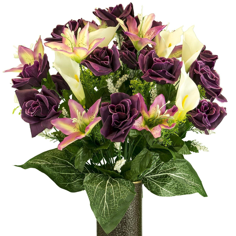 イエローローズwithパープルTiger Lily、人工ブーケ、featuring The stay-in-the-vaseデザイン( C )フラワーホルダー( md2075 ) B078TL331P