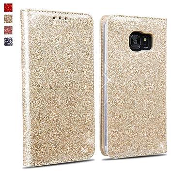 Okzone Galaxy S7 Edge Hülle Luxus Glitzer Bling Premium Pu Leder Handyhülle Brieftasche Stil Magnetisch Folio Flip Etui Brieftasche Hülle Schutzhülle