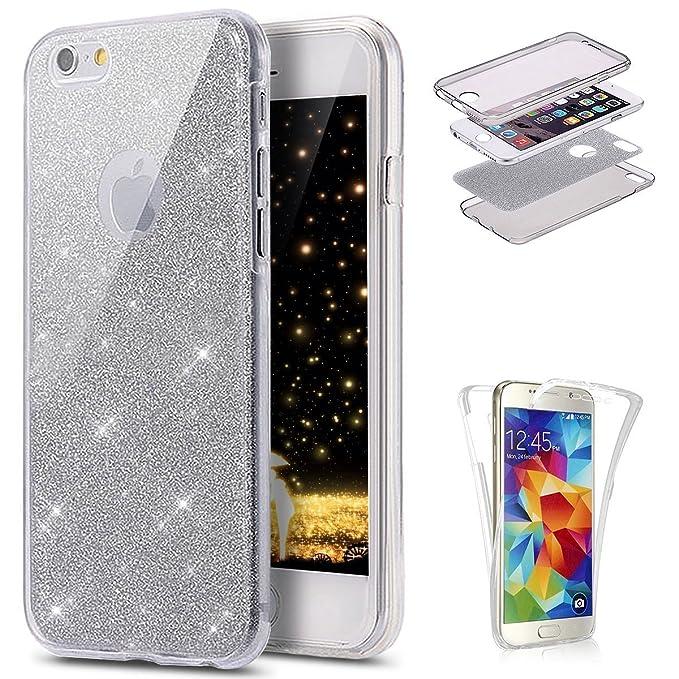 10 opinioni per JAWSEU iPhone 7/8 Cover Case Silicone TPU Trasparente, [360 Gradi] 3 in 1