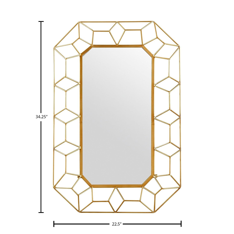 Gold Finish 34.25 H Stone /& Beam Diamond Shape Metal Frame Mirror
