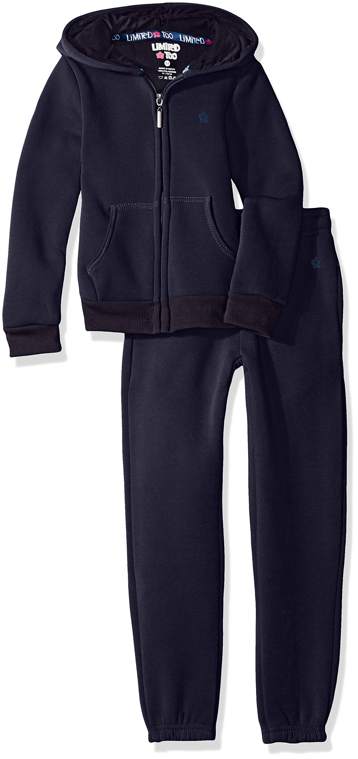 Limited Too Little Girls' Fleece Hoodie Jacket Pant Jog Set, Navy, 6X by Limited Too