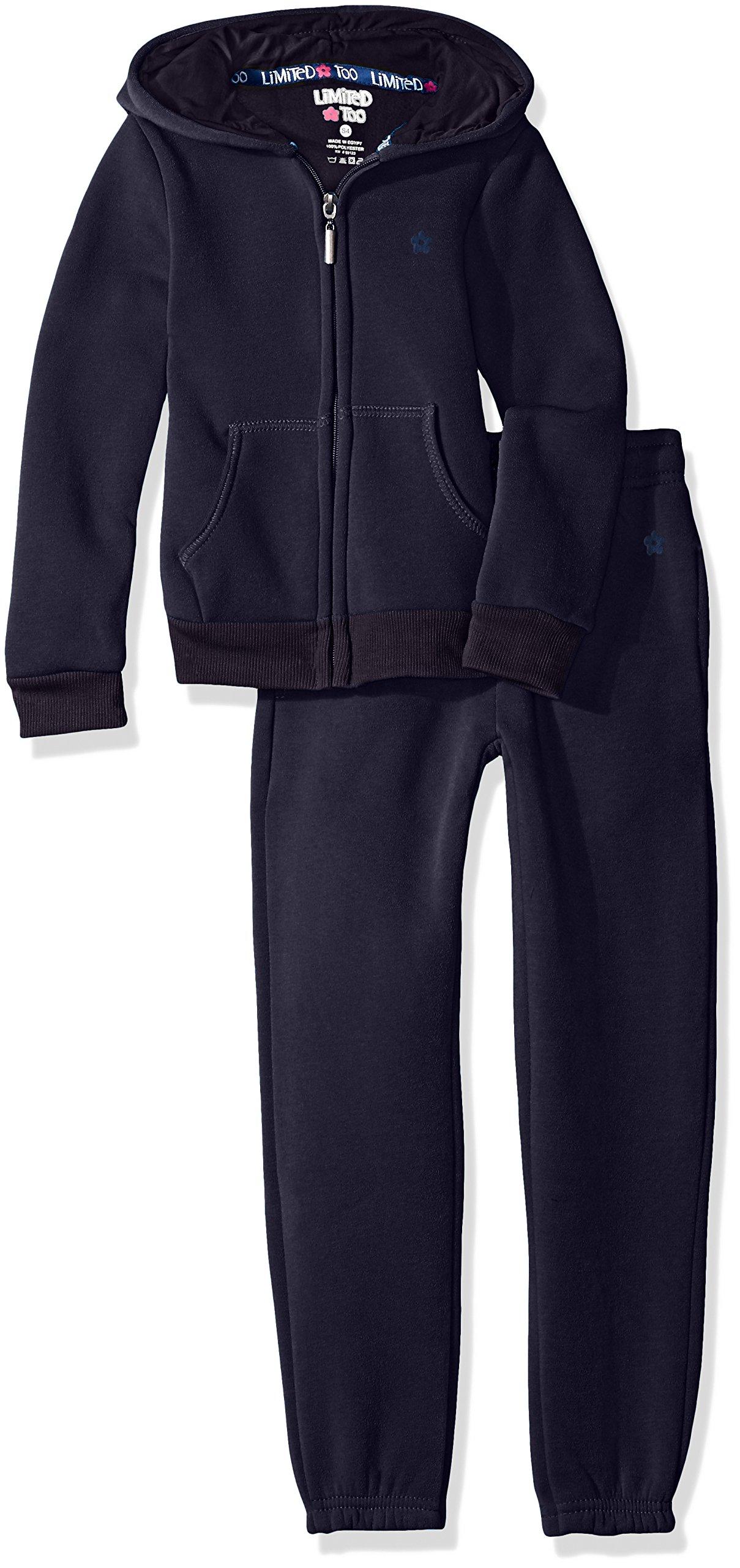 Limited Too Little Girls' Fleece Hoodie Jacket Pant Jog Set, Navy, 6X