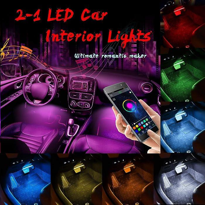Car LED Strip Lights,4pcs 48 LED Bluetooth App Controller Interior Lights Multi Color Music Car Strip Light Under Dash Lighting Kit with Sound Active & Upgraded Wireless Remote Control