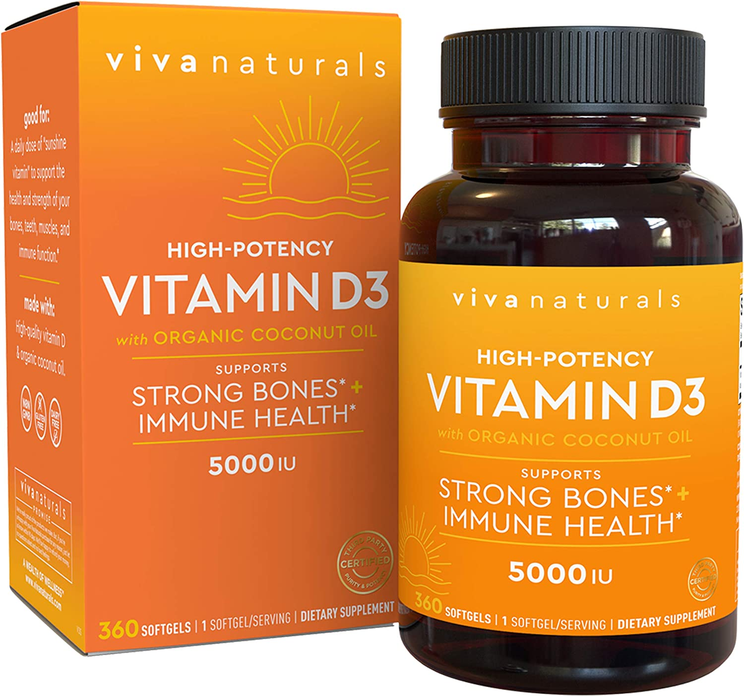 Vitamin D3 5000 IU, 360 Softgels - High Potency Vitamin D Made with Organic Coconut Oil, Vitamin D for Healthy Immune Function, Bone Health & Muscles Function