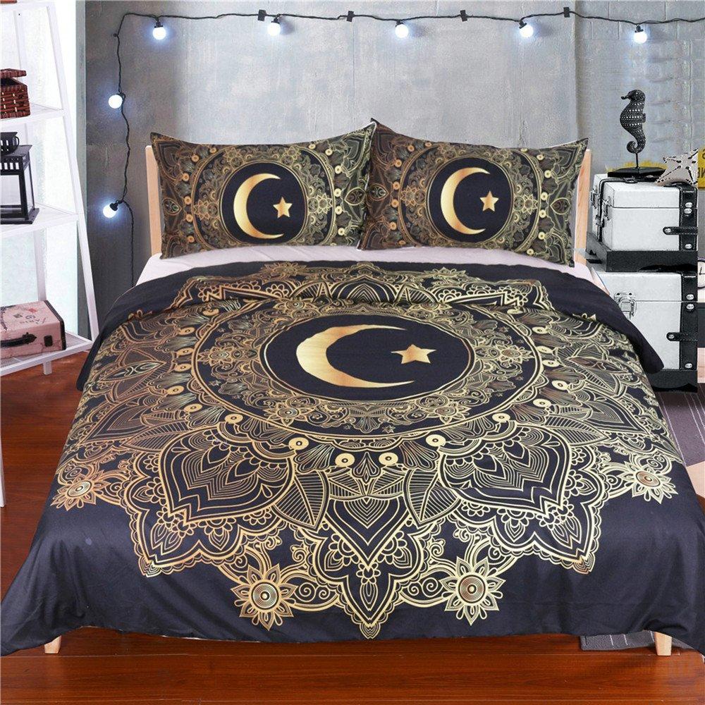 Stillshine Bettwäsche Set Mandala Blumen Sun Star Moon Bettbezug mit Kissenbezug Schwarz Dark Blue Bettbezug Einzelgröße Doppelte King Size Bed Cover (Der Mond begleitet die Sonne, 135x200cm)
