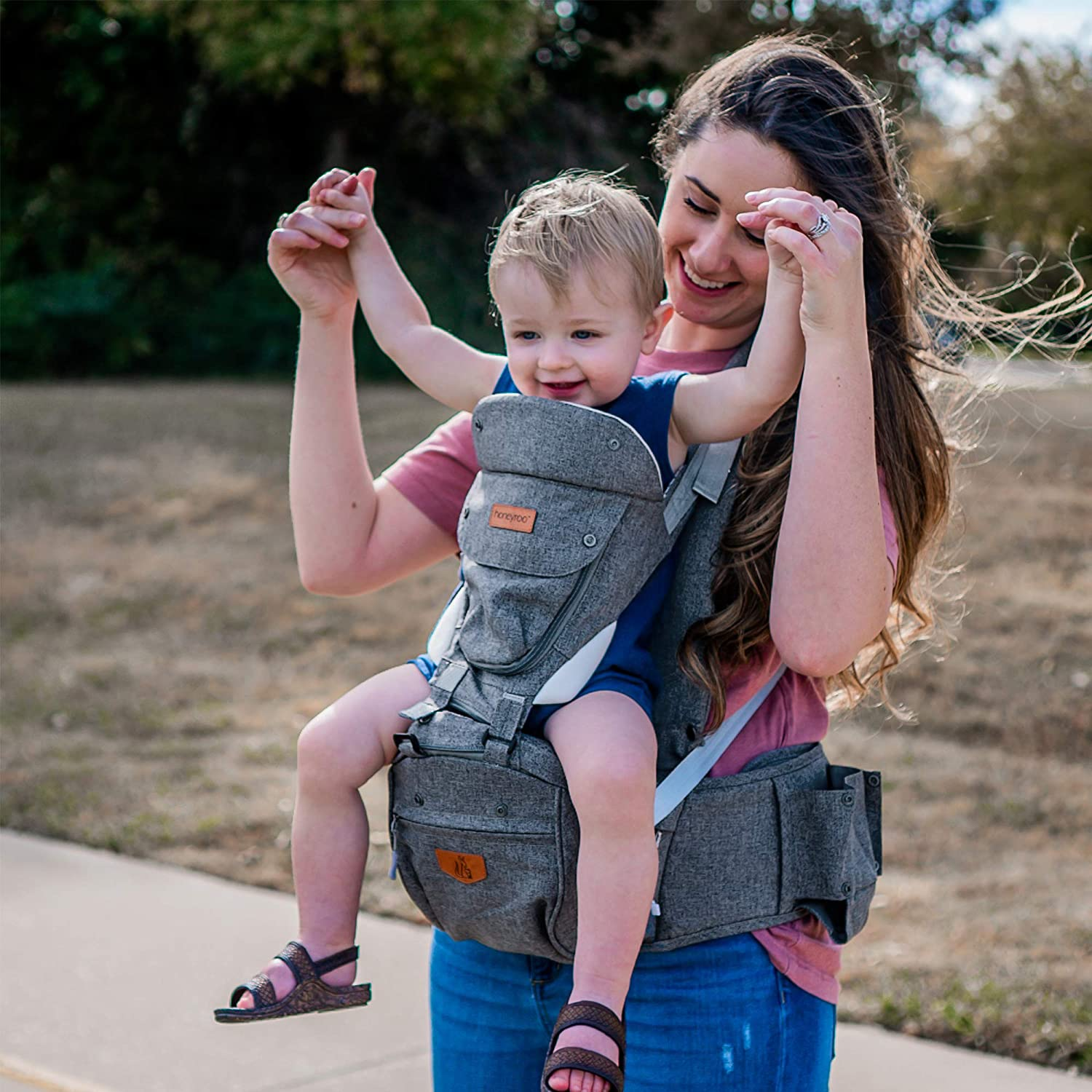 Front and Back Carry Ergonomic 3D Hip Seat Baby Carrier honeyroo Joey Classic Safety Standards 3-36 Months Platinum Gray 6 in 1 Position Design Light Weight and Breathable Approved by U.S