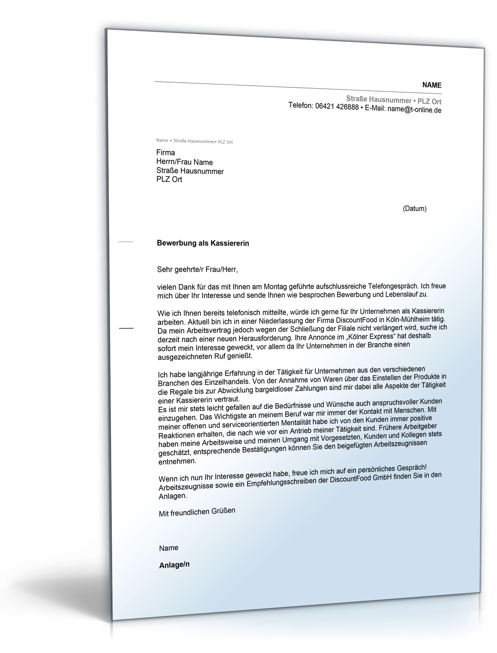 Anschreiben Bewerbung Kassiererin [Word Dokument]: Amazon.de: Software