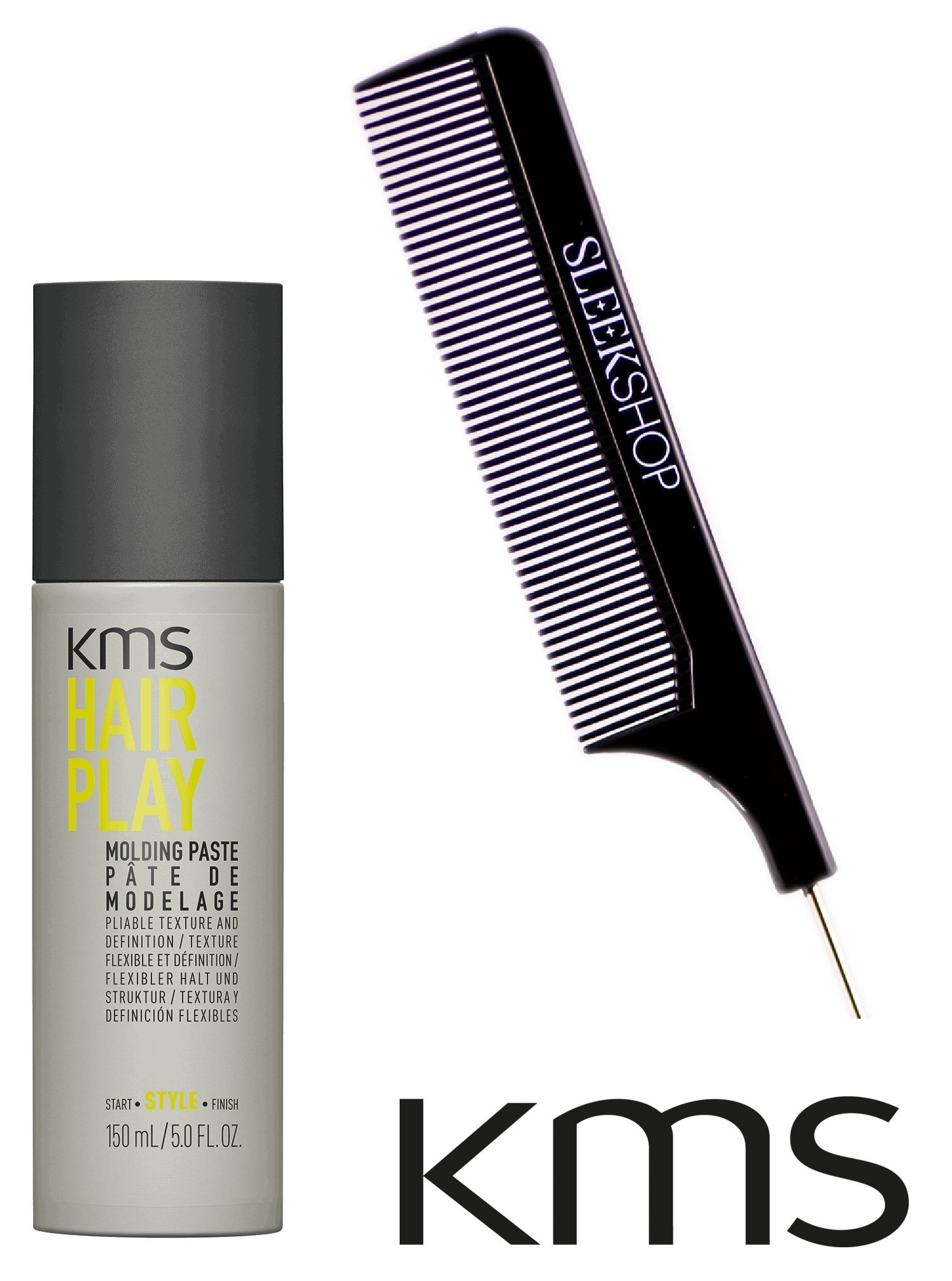 KMS Hair Play Molding Paste, pliable texture and definition (with Sleek Steel Pin Tail Comb) (5 oz / large size)