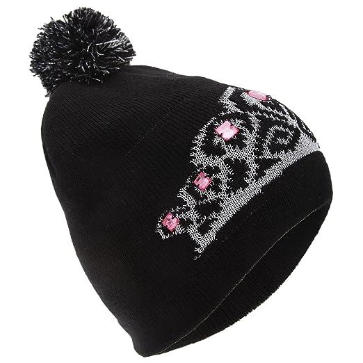 3e778593c32 FLOSO Womens Ladies Tiara Pattern Winter Beanie Bobble Hat (One Size) (Black
