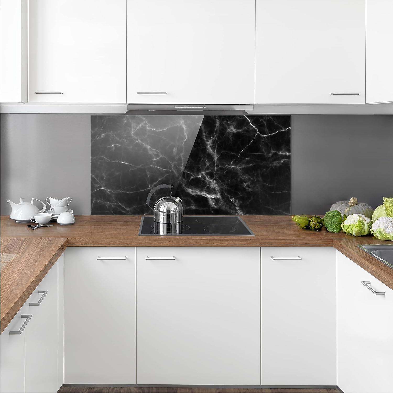 Paysage 1:2 Bilderwelten Cr/édence en Verre Dimension: 40cm x 80cm Nero Carrara Peinture Murale revetement Mural Cuisine dosseret de Cuisine Impression sur Verre Fond de Cuisine