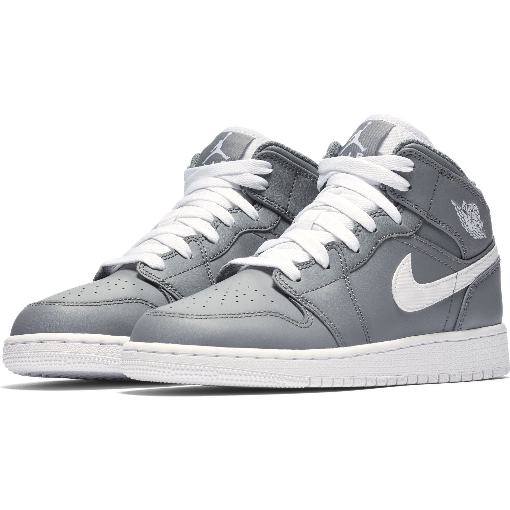 Nike Boy's Air Jordan 1 Mid Basketball Shoe (GS), Cool Grey/White-White 6.5Y by Jordan