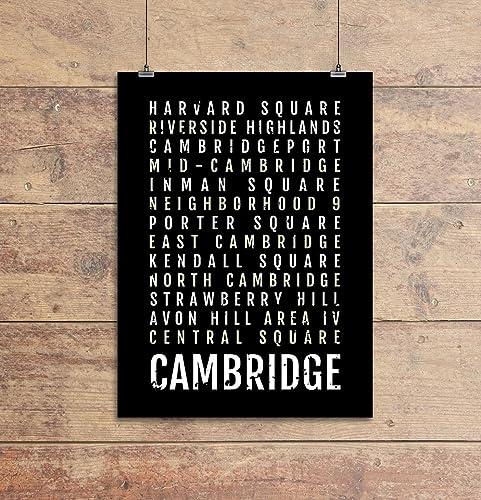 Cambridge Subway Map.Amazon Com Cambridge Print Neighborhoods Subway Sign Poster