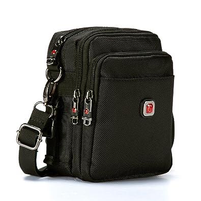 1a90c3b7315d Soperwillton Small Messenger Bag, 1680D Nylon Waterproof Crossbody Bag,  With Removable Strap, Black