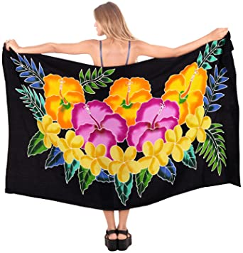 "de0393ba86 LA LEELA Rayon Swimsuit Cover Up Tie Slit Sarong Printed 78""X43""  Black_4789"