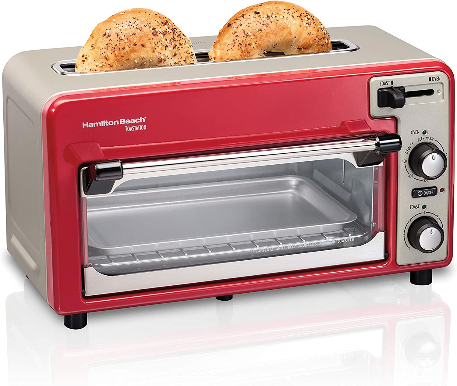 Hamilton Beach 2-in-1 Countertop Oven and 2-Slice Toaster with Extra Wide Slot, Shade Selector, Baking Pan Included, Red (22724)