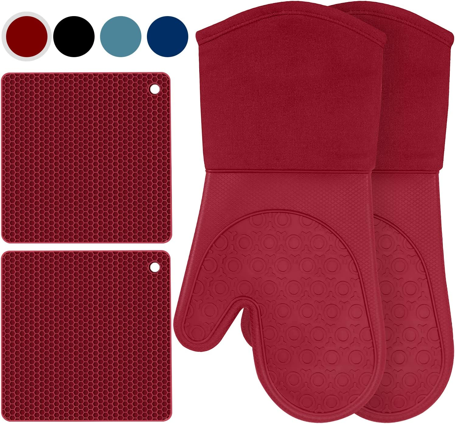 Tosuizum Silicone Oven Mitts Set, Heat Resistant and Non-Slip Oven Gloves with Cotton Lining, Set of 4 (2PCS Oven Mitts, 2PCS Pot Holders) - Burgundy
