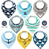 Lenbest Bandana Dribble Bibs, 8-Pack Unisex Drool Bibs 100% Organic Cotton, Hypoallergenic, Absorbent, Soft Bib Set for Baby Newborn Gifts for Teething, Feeding and Drooling